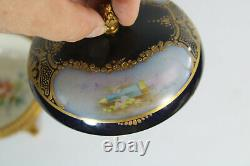 Antique French sevres porcelain marked hand paint putti floral box
