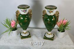 Antique French vieux paris porcelain Caryatid figurine floral hand paint vases