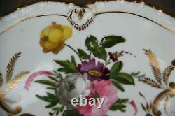 Antique French vieux paris porcelain Centerpiece bowl fruit hand paint flowers