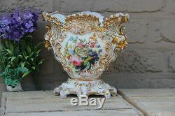 Antique French vieux paris porcelain floral hand paint vase satyr heads