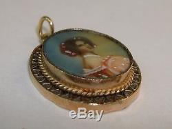 Antique Georgian Miniature Hand Painted Portrait In Gold Frame! Ex. Condition