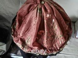 Antique German Porcelain Half Doll Arms Away Gorgeous Hand Painted Silk Ballgown