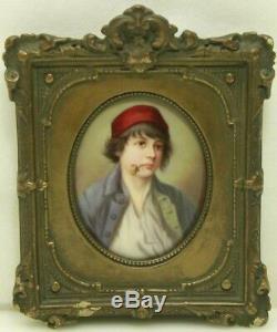 Antique German Porcelain Hand Painted Portrait Wood Frame (#17)