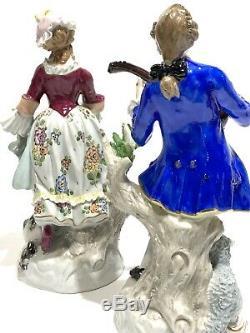 Antique Germany SITZENDORF Hand Painted Woman & Man Pair Porcelain Figurines