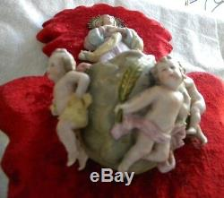 Antique Gorgeous Holy Water Font Velvet Porcelain Virgin Mary Angels Handpainted