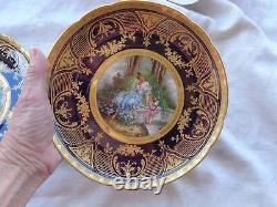 Antique Hand Painted Artist Sgd Dresden Porcelain Lady Cupid Cabinet Plate Set