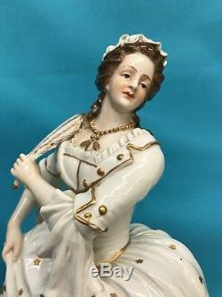 Antique Hand Painted Dresden Porcelain Figure Of Woman, S. & G. GUMP CO. Germany