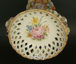 Antique Hand Painted Dresden Schierholz Plaue Porcelain Cherub Compote 1880