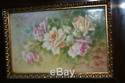 Antique Hand Painted Porcelain Framed Roses Wall Plaque Limoges France Signed