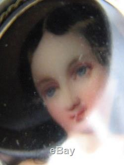 Antique Hand Painted Porcelain Miniature Old Portrait Brooch 14K Yellow Gold Pin