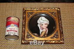 Antique Hand Painted Porcelain Portrait Plate Elegant Woman Holding Hands Gilded