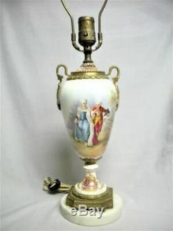 Antique Hand Painted Porcelain Table Lamp Brass Ormolu French Portrait Signed