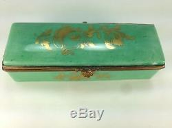 Antique Hinged Porcelain Stamp Box Limoges France Hand Painted Floral