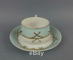 Antique Imperial Russian Porcelain Handpainted Floral Cup and Saucer by Gardner