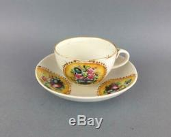 Antique Imperial Russian Porcelain Handpainted Floral Cup and Saucer by Orlov