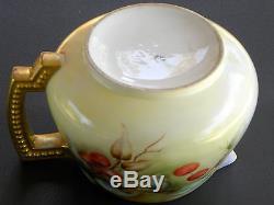 Antique Jean Pouyat Limoges Hand Painted Porcelain Lemonade Pitcher Cherries