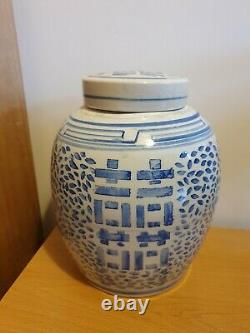 Antique Large Chinese Blue And White Marked Ginger Jar