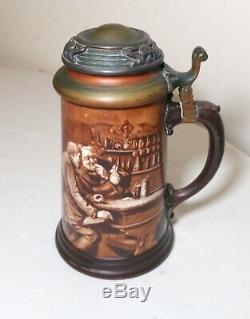 Antique Lenox porcelain sterling bronze hand painted monk friar lidded stein mug