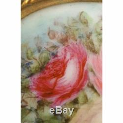Antique Limoges Porcelain Hand Painted Roses Stud Buttons and Sash Buckle