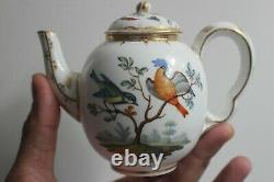 Antique MEISSEN Hand Painted Birds and Insects Small Porcelain Teapot