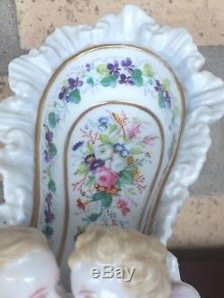 Antique Meissen / Dresden Porcelain Hand Painted Cherub Shoe Figure Sword Mark