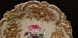 Antique Meissen Porcelain Large Rococo Gold Gilt Hand Painted Flowers Charger