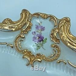 Antique Meissen Porcelain Large Serving Tray 16, Hand-painted, Floral, Gilt