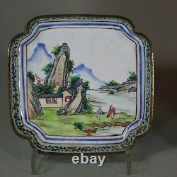 Antique Pair of Chinese Canton enamel trays, 18th Century