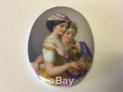 Antique Pair of European Hand Painted Oval Porcelain Plaques Girls with Birds