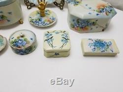 Antique Porcelain 8 PIECE LIMOGES VANITY SET Hand Painted POWDER TRINKET BOX