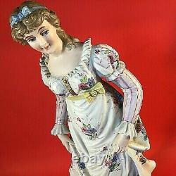 Antique Porcelain Bisque Woman Figurine Hand Painted Large 14 3/4 Colonial