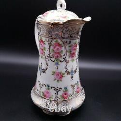 Antique Porcelain Coffee Chocolate Pot Hand Painted Gold Trim