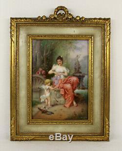 Antique Porcelain Hand Painted Plaque Cupid and Psyche Not KPM C. 1890