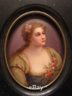 Antique Porcelain Hand Painted Plaque Portrait Beautiful Women Signed Parabere