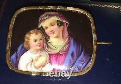 Antique Portrait Brooch Gold Madonna Jesus Hand Painted Porcelain Pin Victorian