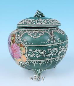 Antique Pre Nippon Hand Painted Roses & Moriage Cracker Biscuit Jar Porcelain