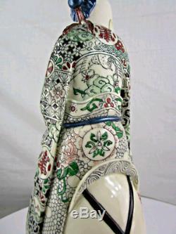 Antique Rare Chinese God Fine Porcelain Or Bone Famille Rose Statue Kangxi Mark