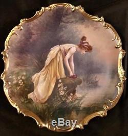 Antique Rare French Limoges LS&S Hand Painted Dubois Porcelain Charger Plaque
