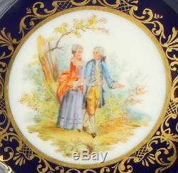 Antique Richard Klemm Dresden Hand Painted Cabinet Portrait Plate Cobalt Blue