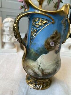 Antique Royal Bonn Germany Hand Painted Portrait Vase Artist Signed 1756
