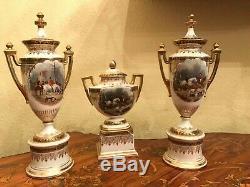 Antique Royal Vienna Austria 3 Porcelain Urn / Vases Handpainted Hunt Scene