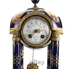 Antique Royal Vienna Hand Painted Porcelain & Bronze Mantel Clock, 19th Century