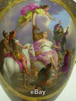 Antique Royal Vienna Porcelain Ornately Hand Painted Urn & Plinth Signed Meyer