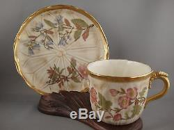 Antique Royal Worcester Hand Painted Fine Porcelain Cup and Saucer c. 1888