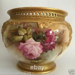 Antique Royal Worcester Hand Painted Roses Jardiniere Signed R Austin