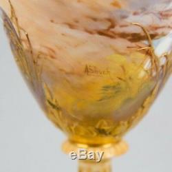 Antique Royal Worcester Porcelain Vase Hand Painted Storks in Oasis Signed Shuck