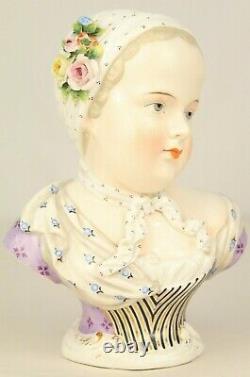 Antique SITZENDORF Porcelain Bourbon Child Bust Hand Painted Meissen Style