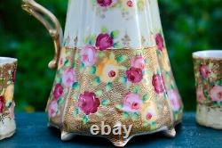 Antique Set Royal Kinran Hot Chocolate Pot Cup Nippon Pink Yellow Roses Beaded