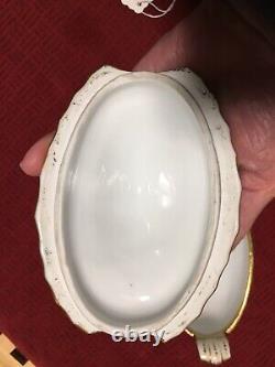 Antique Sevres France Hand Painted Porcelain Bowl With Lid, Gilt