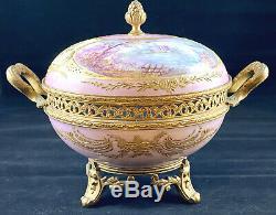 Antique Sevres French Ormolu Bronze Porcelain Lidded Potpourri Box Hand Painted